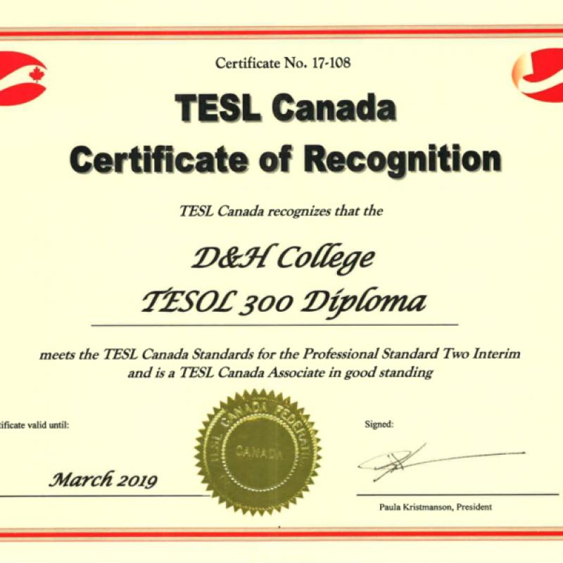 TESL300 diploma
